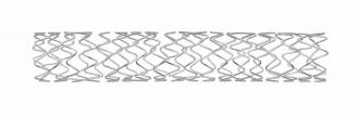 ステント:金属製のコイルもしくは網目状のものを血管の内側から支えとして冠動脈に留置します(© 2019 Medtronic  All rights reserved.)。