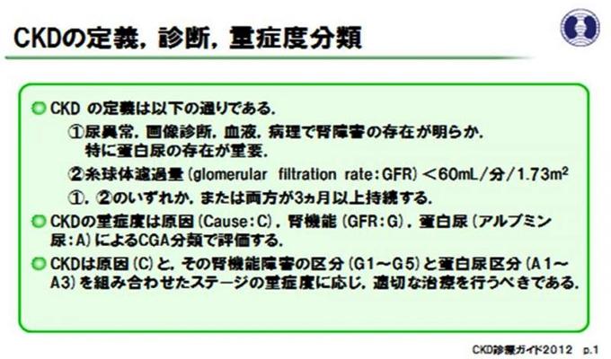 (図1)CKDの定義、診断、重症度分類